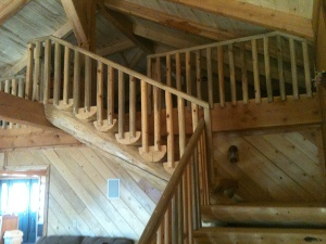 Half Log Stairs and Railing